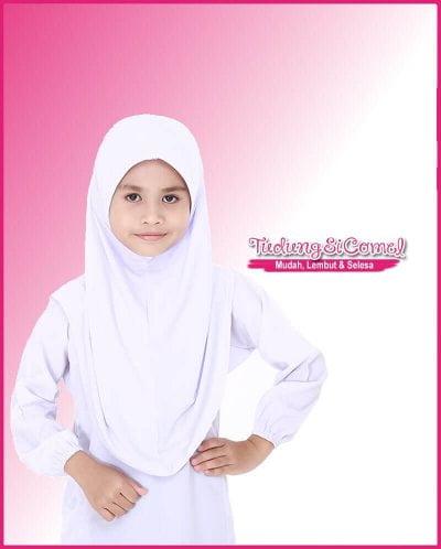 Tudung Sekolah Awning Lembut Putih 518-11 I 800x996
