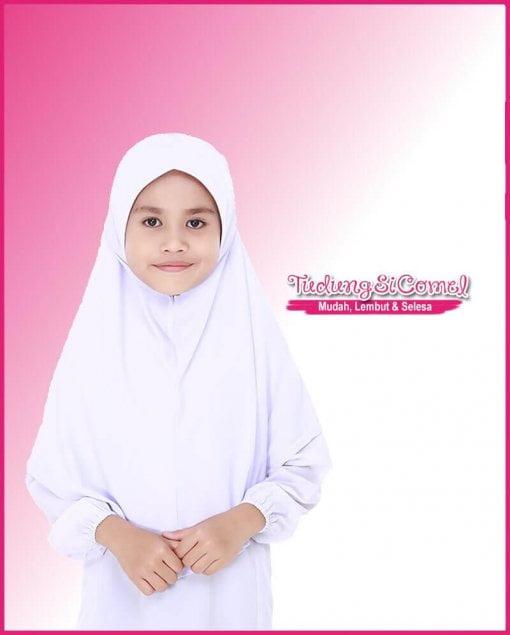 Tudung Sekolah Awning Lembut Putih 518-11 II 800x996